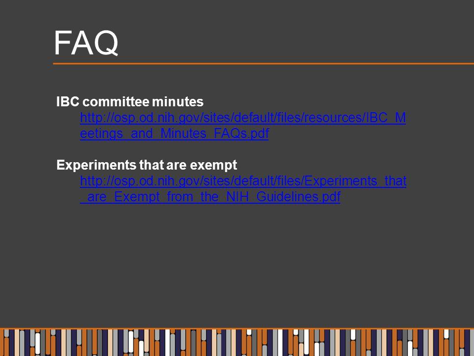 FAQ IBC committee minutes