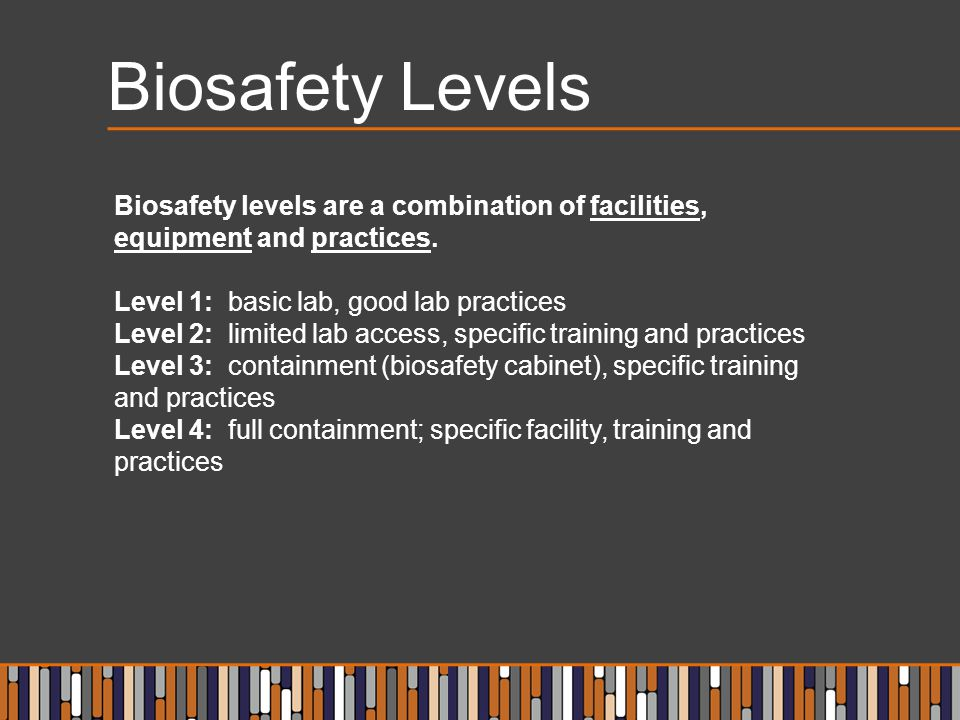 Biosafety Levels Biosafety levels are a combination of facilities, equipment and practices. Level 1: basic lab, good lab practices.