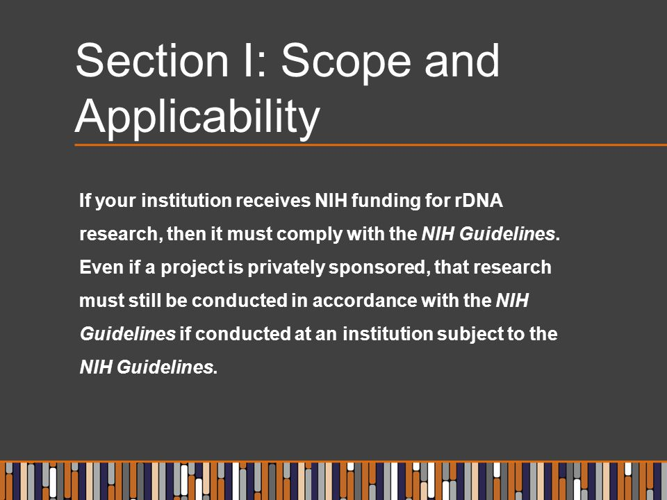 Section I: Scope and Applicability