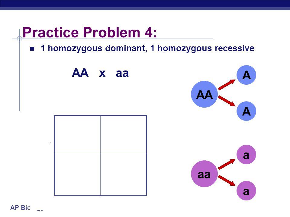 Practice Problem 4: AA x aa A AA a A a aa