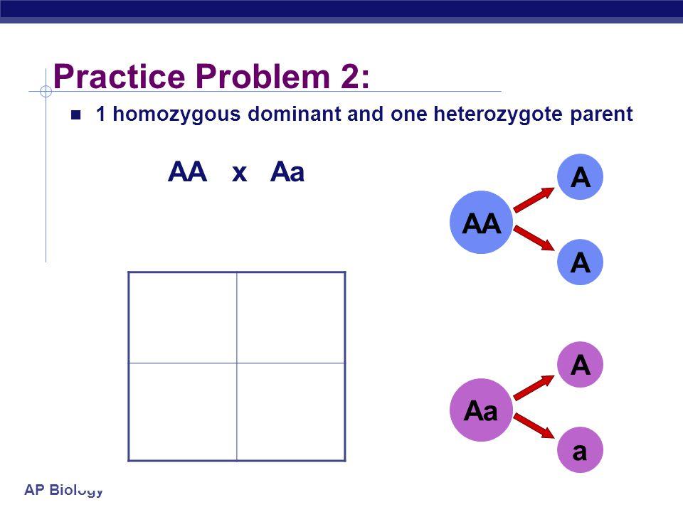 Practice Problem 2: AA x Aa A AA A A A Aa a a
