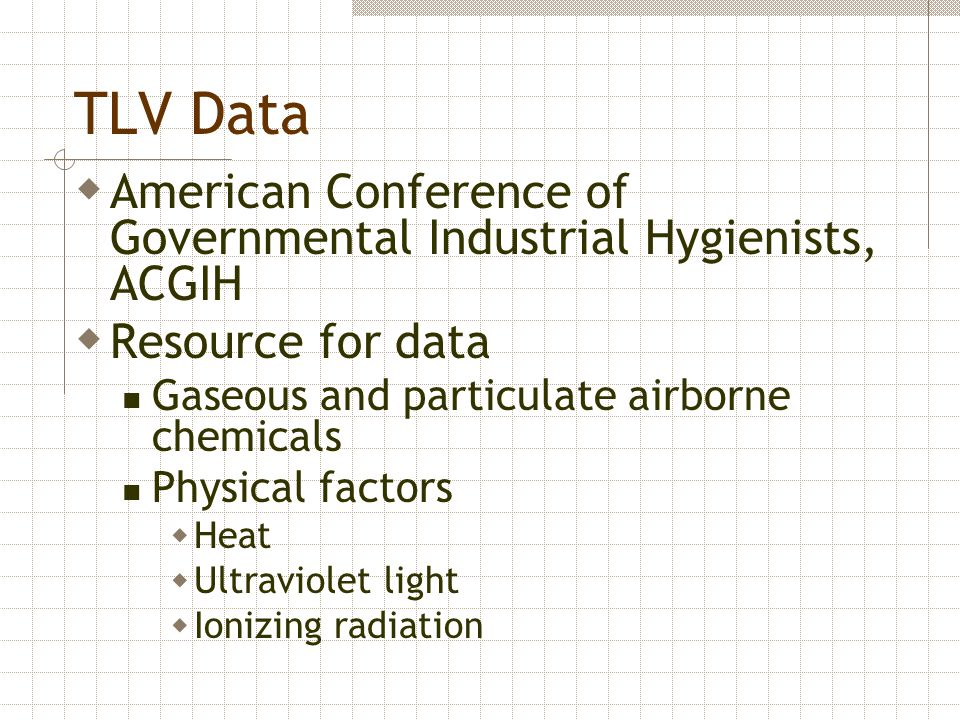 TLV Data American Conference of Governmental Industrial Hygienists, ACGIH. Resource for data. Gaseous and particulate airborne chemicals.