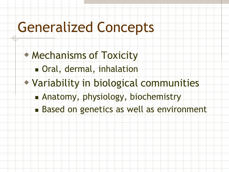 Generalized Concepts Mechanisms of Toxicity