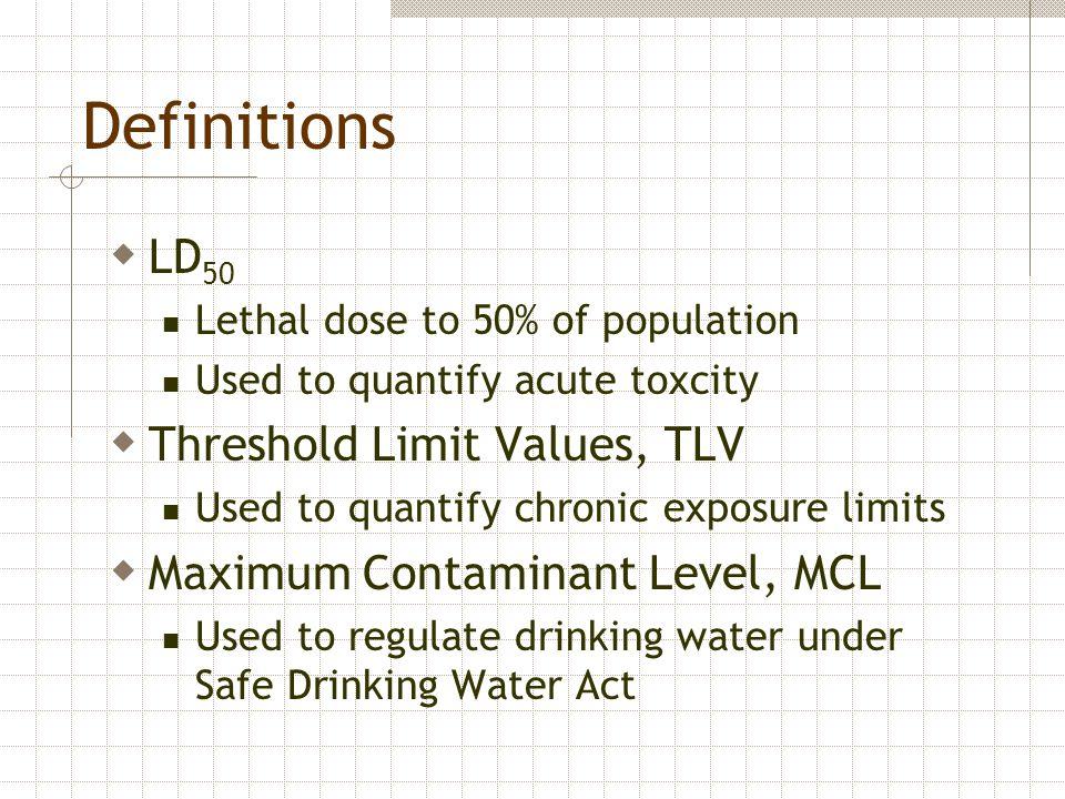 Definitions LD50 Threshold Limit Values, TLV