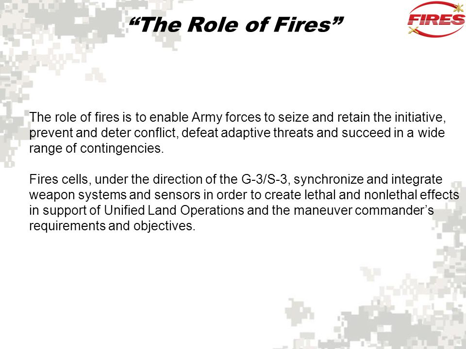 The Role of Fires