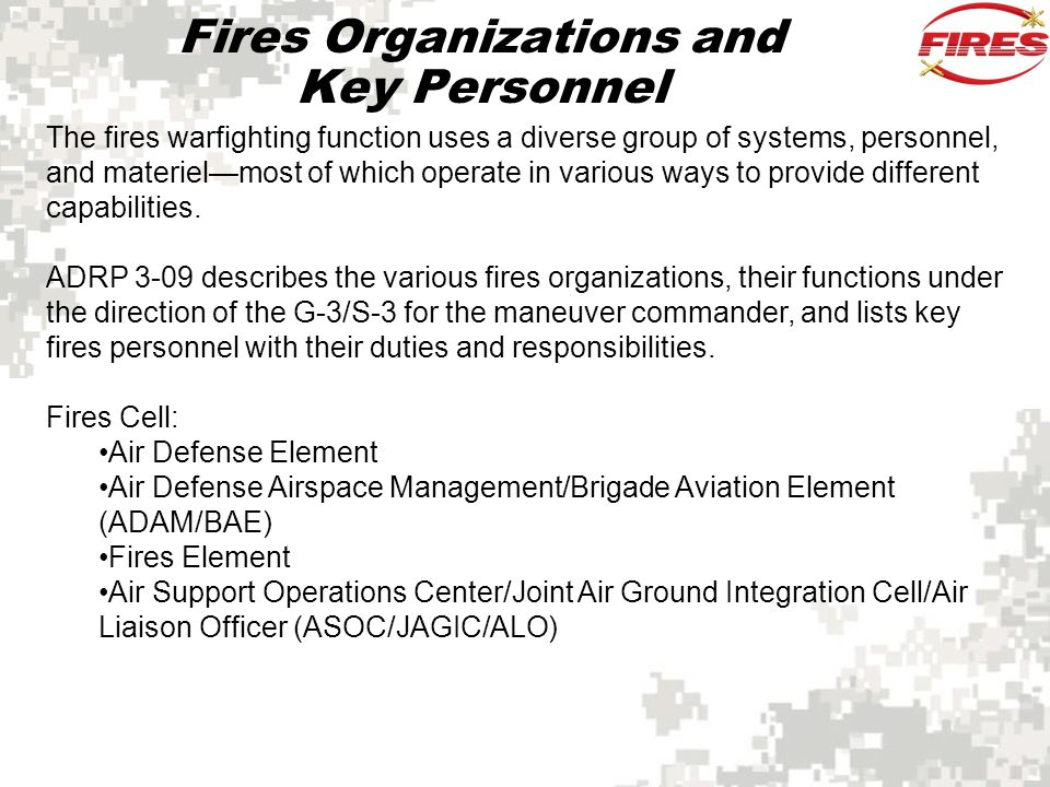 Fires Organizations and Key Personnel