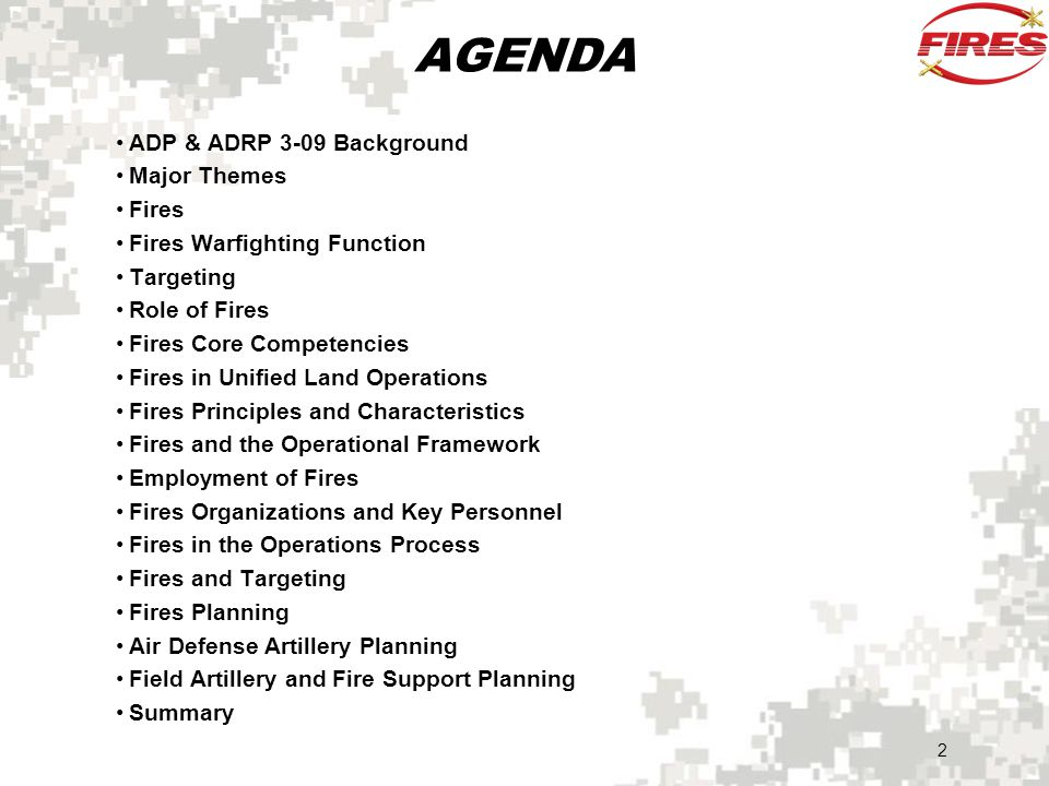 AGENDA ADP & ADRP 3-09 Background Major Themes Fires