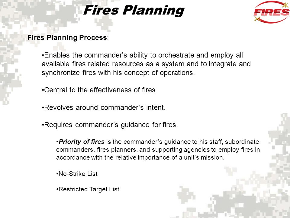 Fires Planning Fires Planning Process:
