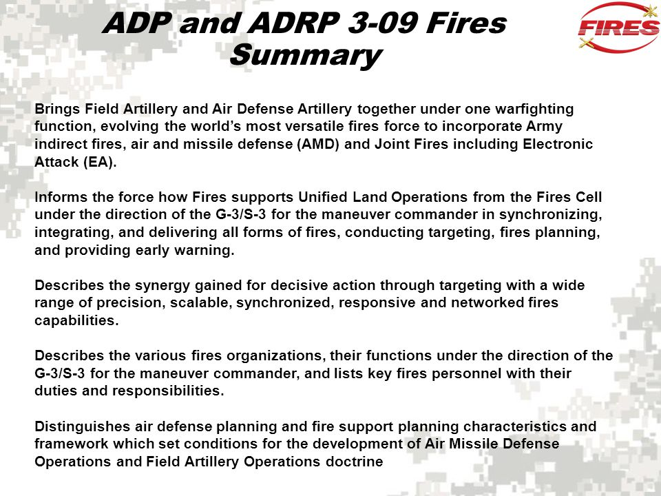 ADP and ADRP 3-09 Fires Summary