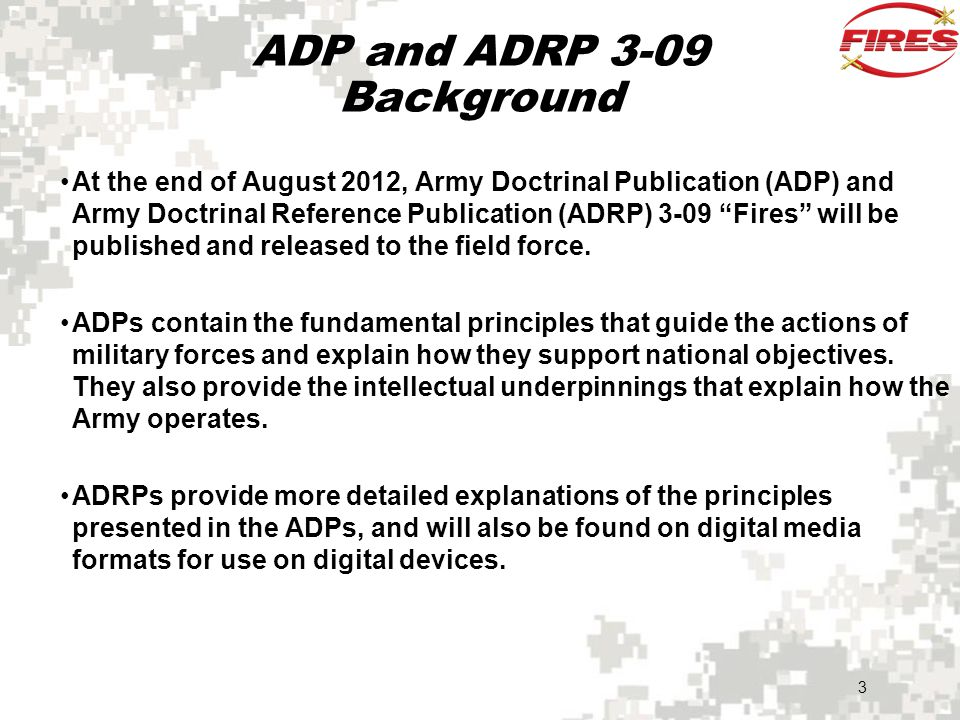ADP and ADRP 3-09 Background