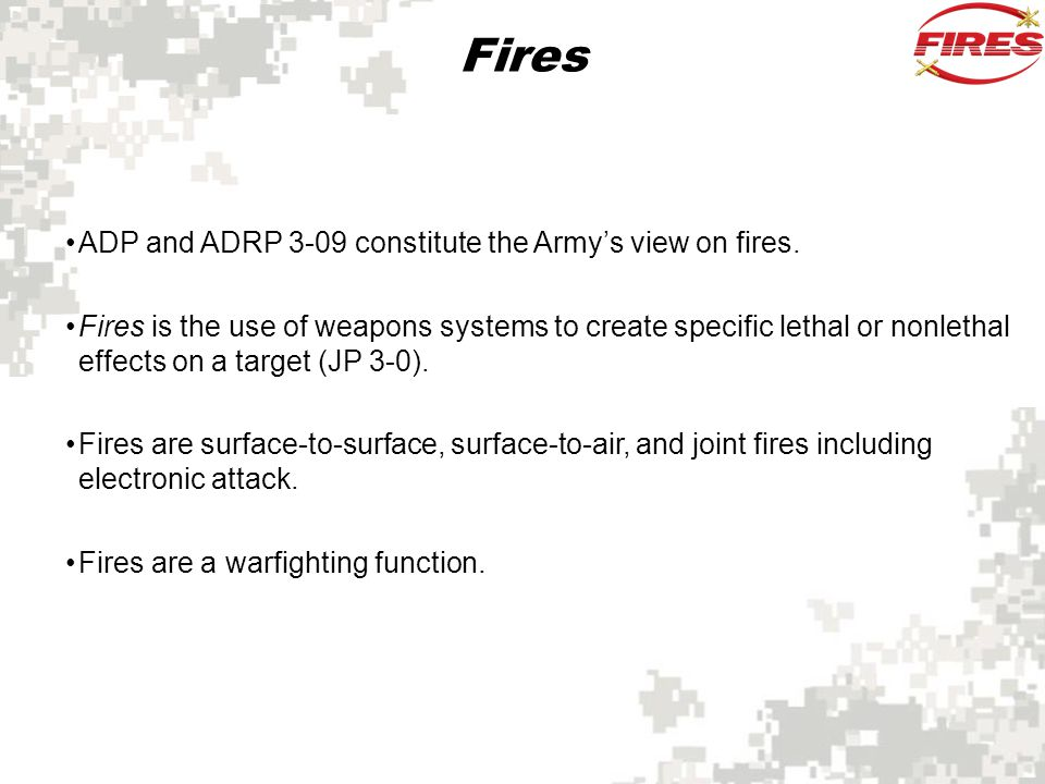 Fires ADP and ADRP 3-09 constitute the Army's view on fires.