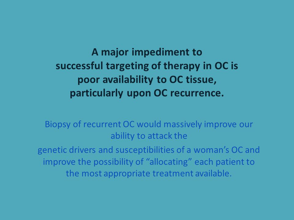 A major impediment to successful targeting of therapy in OC is poor availability to OC tissue, particularly upon OC recurrence.