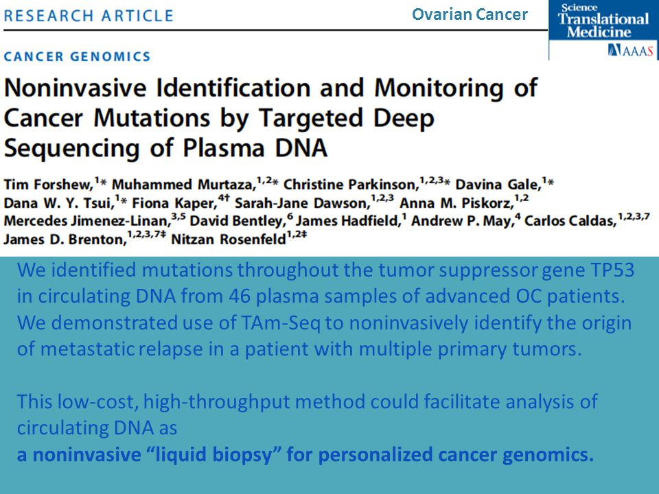 a noninvasive liquid biopsy for personalized cancer genomics.