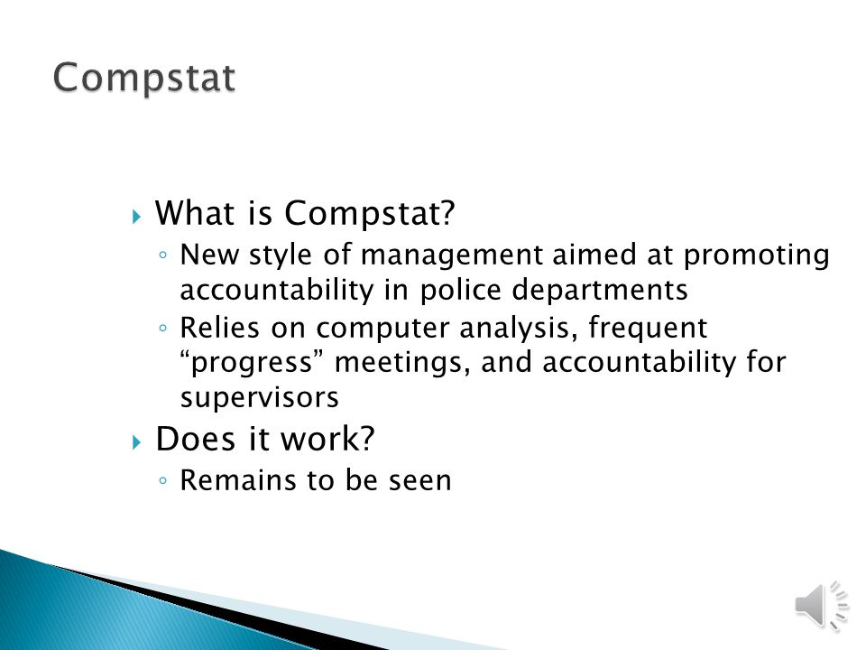 Compstat What is Compstat Does it work