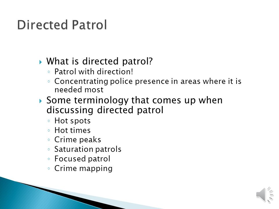 Directed Patrol What is directed patrol