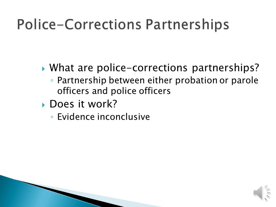 Police-Corrections Partnerships