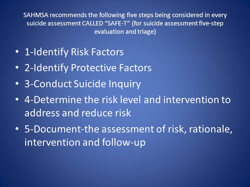 1-Identify Risk Factors 2-Identify Protective Factors