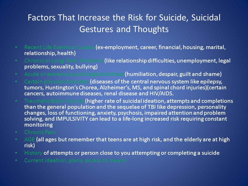 Factors That Increase the Risk for Suicide, Suicidal Gestures and Thoughts