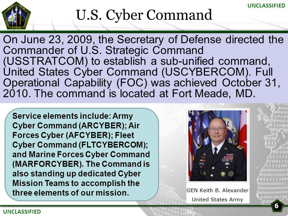 U.S. Cyber Command UNCLASSIFIED.