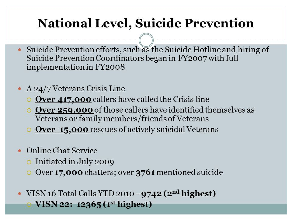 National Level, Suicide Prevention