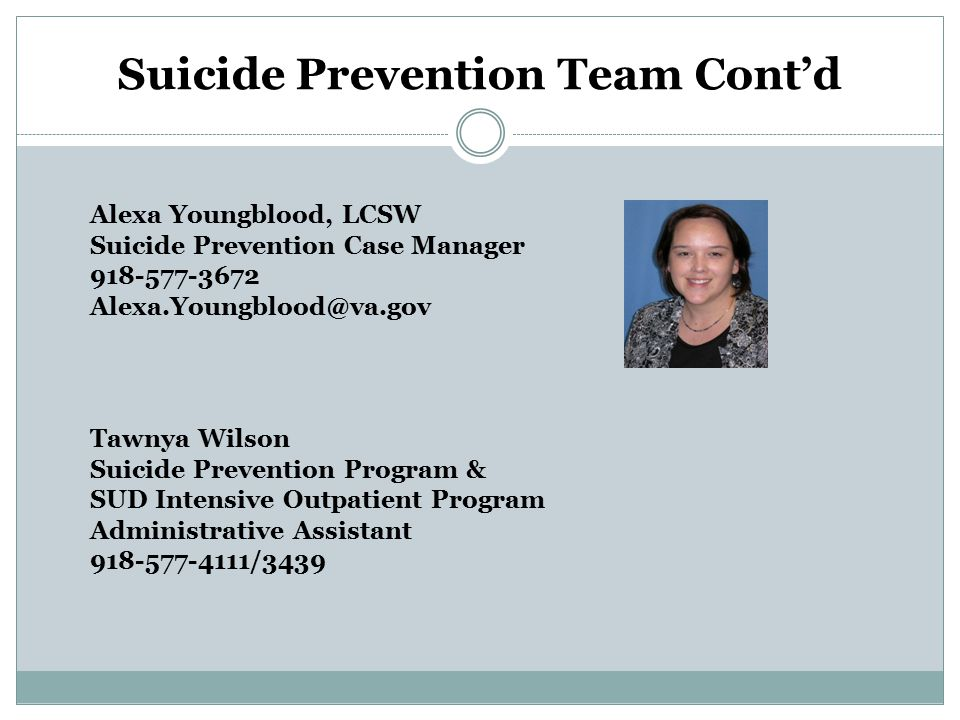 Suicide Prevention Team Cont'd