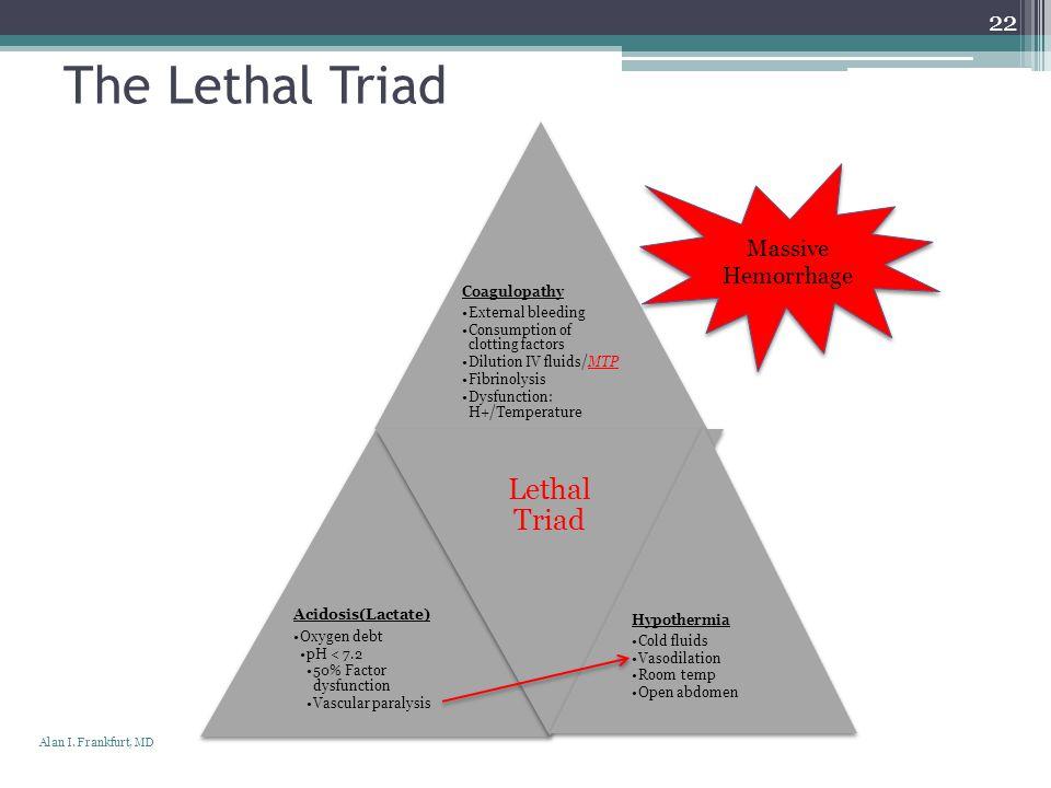 The Lethal Triad Lethal Triad Massive Hemorrhage Coagulopathy