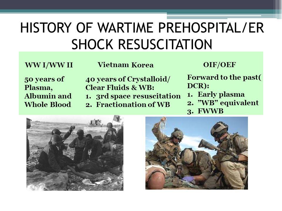 HISTORY OF WARTIME PREHOSPITAL/ER SHOCK RESUSCITATION