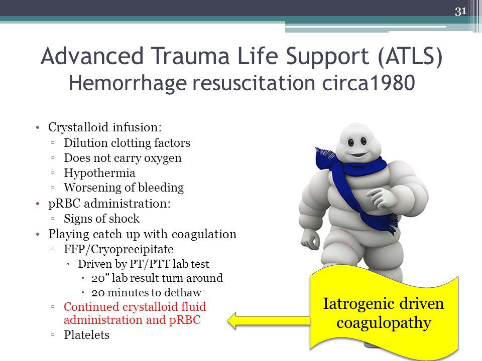 Advanced Trauma Life Support (ATLS) Hemorrhage resuscitation circa1980