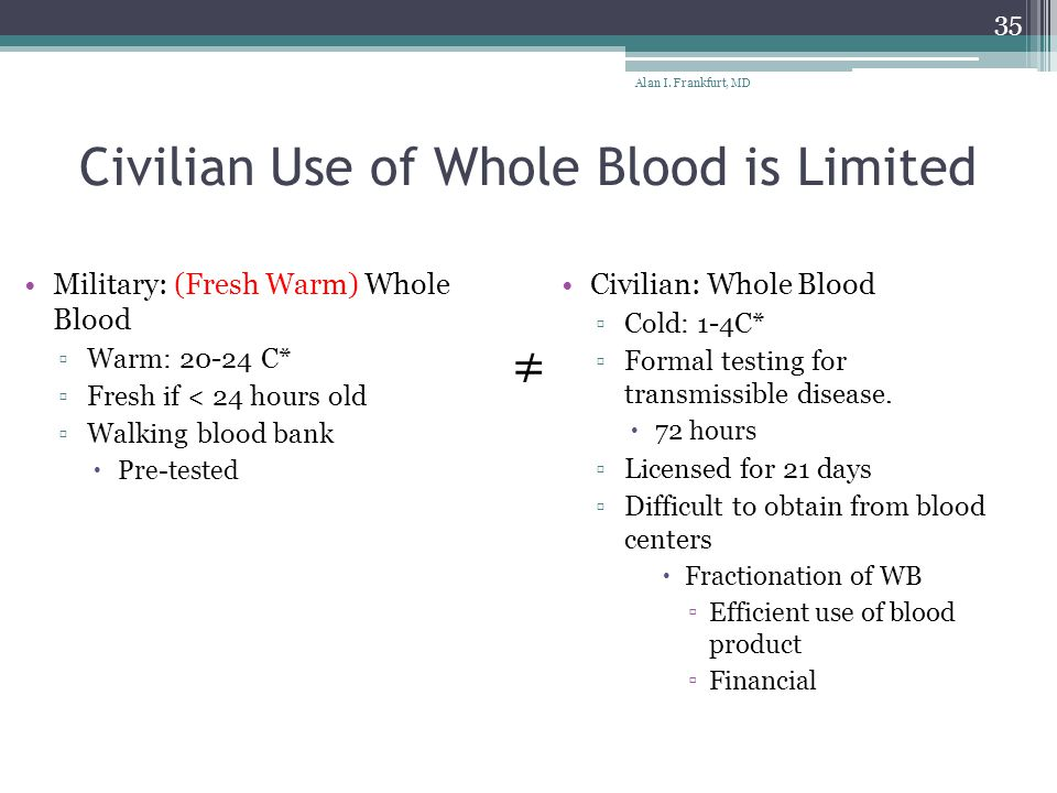 Civilian Use of Whole Blood is Limited