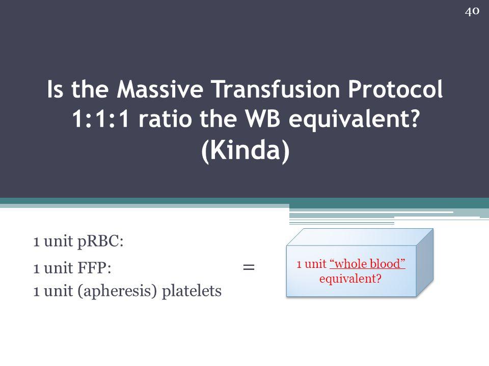 1 unit pRBC: 1 unit FFP: = 1 unit (apheresis) platelets