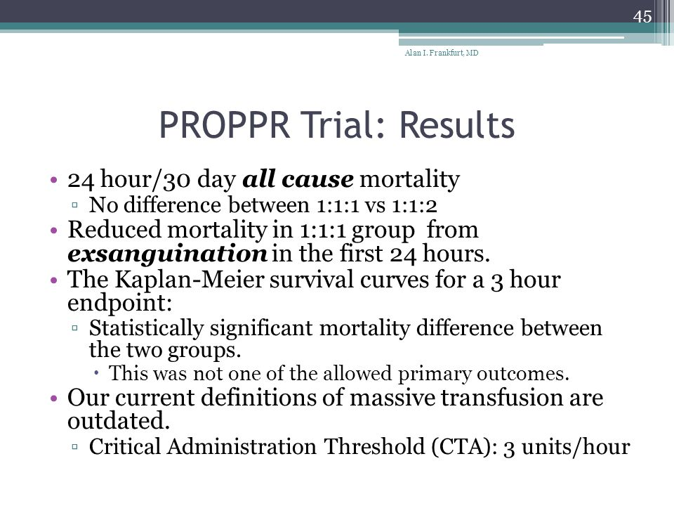 PROPPR Trial: Results 24 hour/30 day all cause mortality