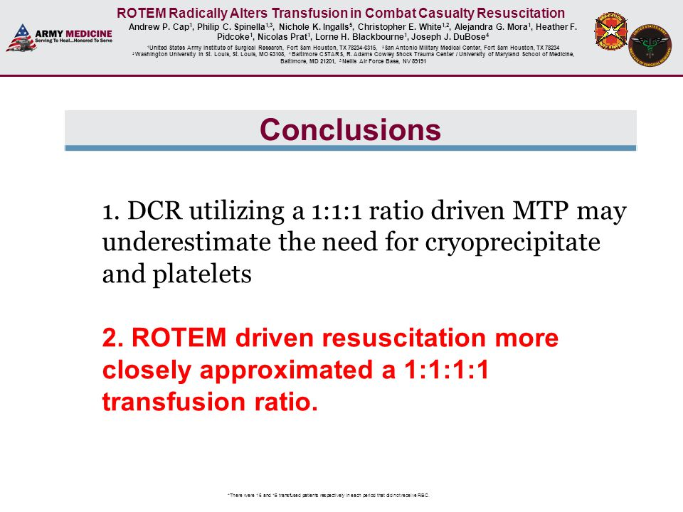 ROTEM Radically Alters Transfusion in Combat Casualty Resuscitation