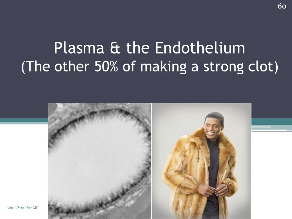 Plasma & the Endothelium (The other 50% of making a strong clot)