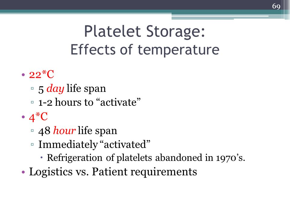 Platelet Storage: Effects of temperature