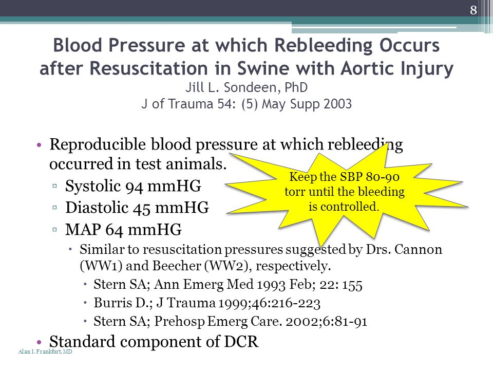 Keep the SBP 80-90 torr until the bleeding is controlled.