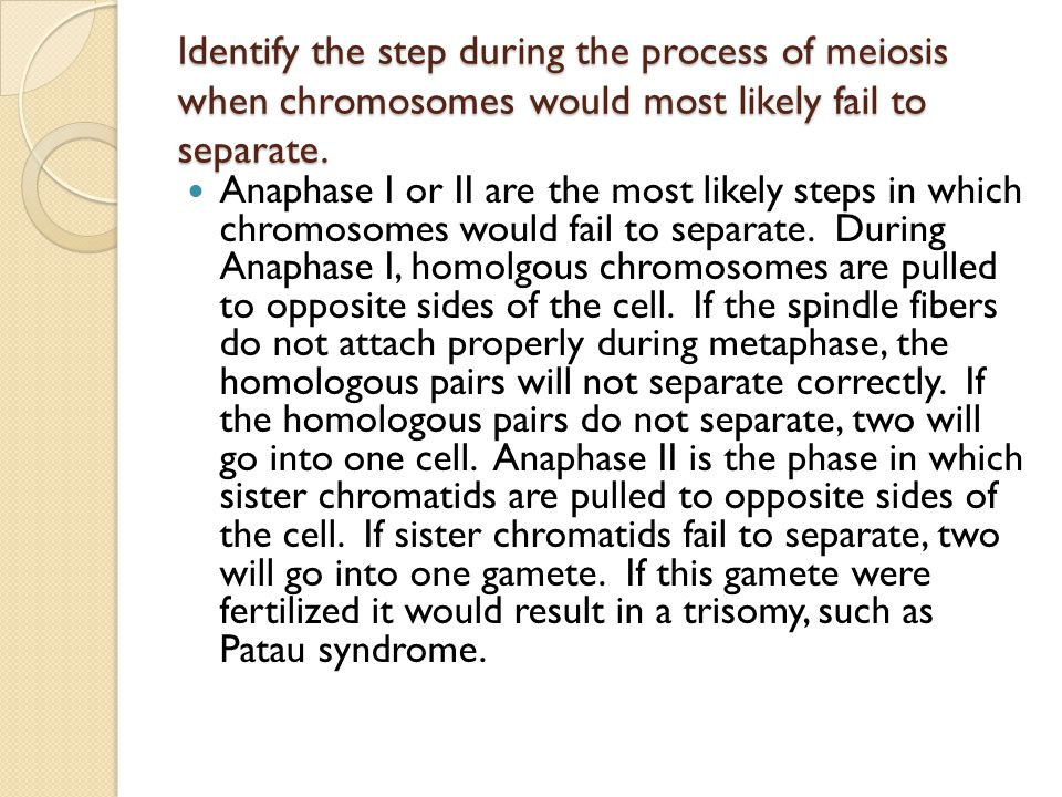 Identify the step during the process of meiosis when chromosomes would most likely fail to separate.