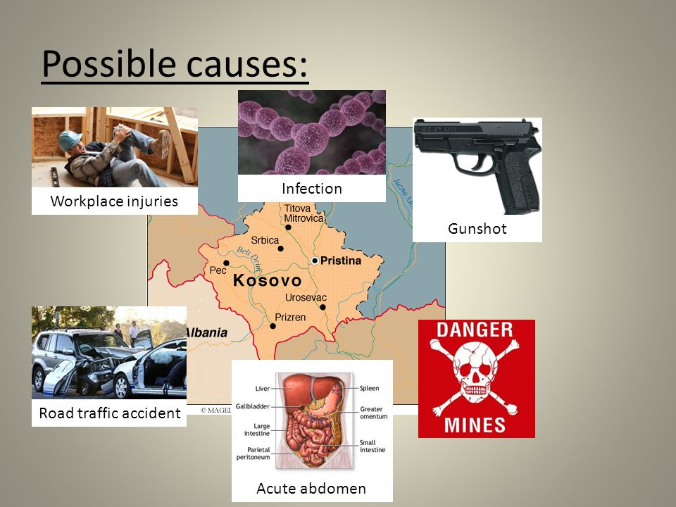 Possible causes: Infection Workplace injuries Gunshot