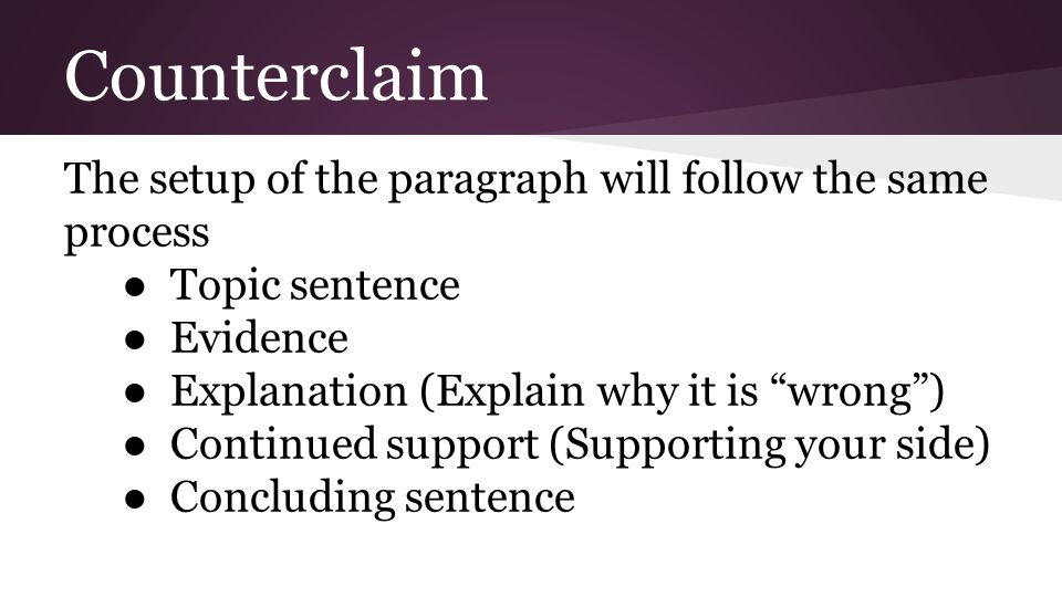 Counterclaim The setup of the paragraph will follow the same process