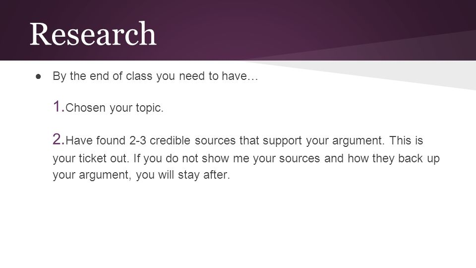 Research 1.Chosen your topic.