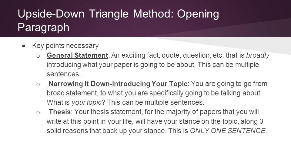 Upside-Down Triangle Method: Opening Paragraph