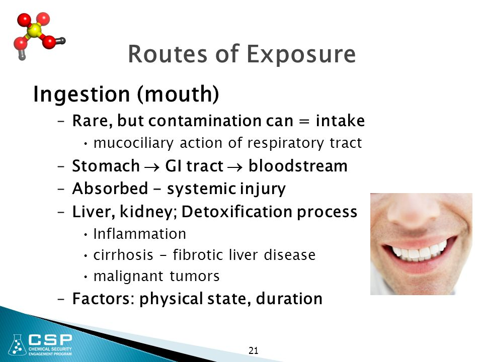 Routes of Exposure Ingestion (mouth)