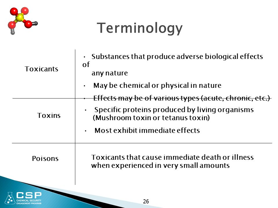 Terminology Substances that produce adverse biological effects of any nature. May be chemical or physical in nature.