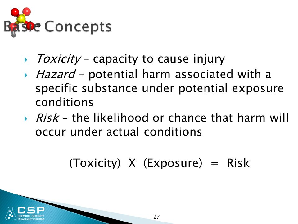 (Toxicity) X (Exposure) = Risk