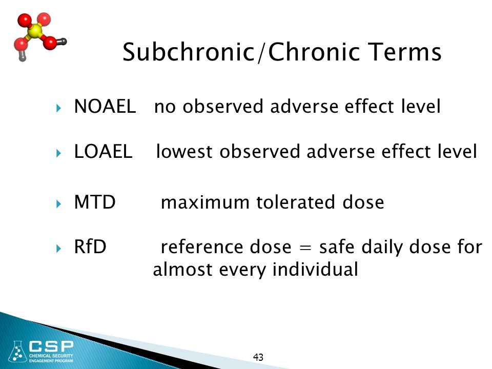 Subchronic/Chronic Terms