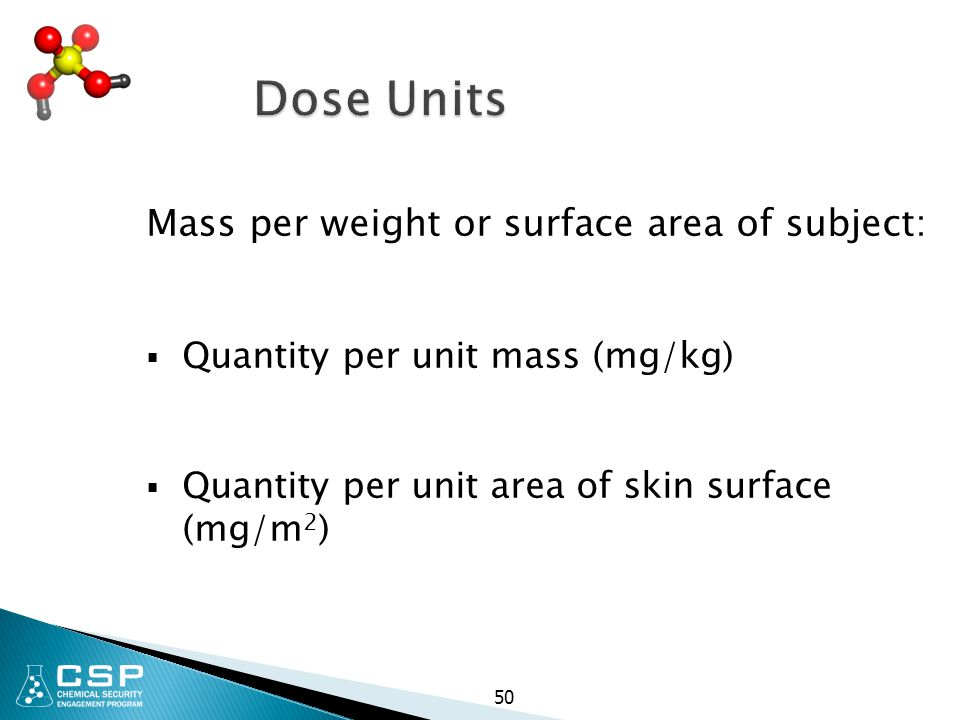 Dose Units Mass per weight or surface area of subject: