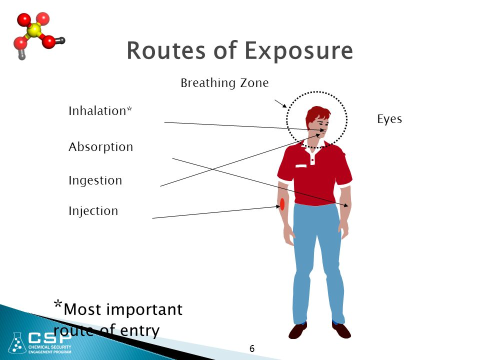 Routes of Exposure *Most important route of entry Breathing Zone