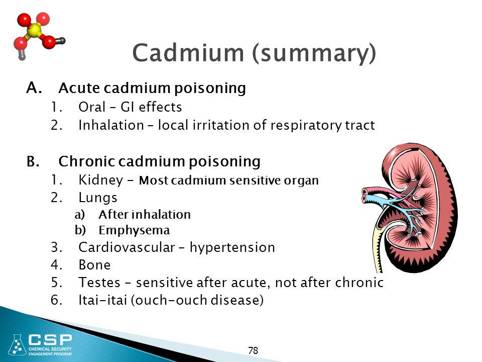 Cadmium (summary) A. Acute cadmium poisoning