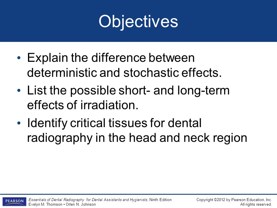 Objectives Explain the difference between deterministic and stochastic effects. List the possible short- and long-term effects of irradiation.