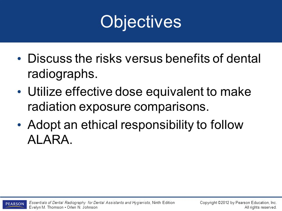 Objectives Discuss the risks versus benefits of dental radiographs.