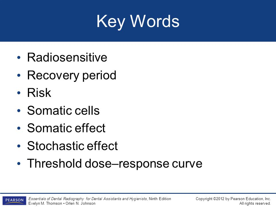 Key Words Radiosensitive Recovery period Risk Somatic cells